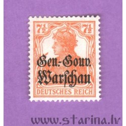 "German Empire postage stamp overprinted ""Ger.-Gouv. Warschau"""